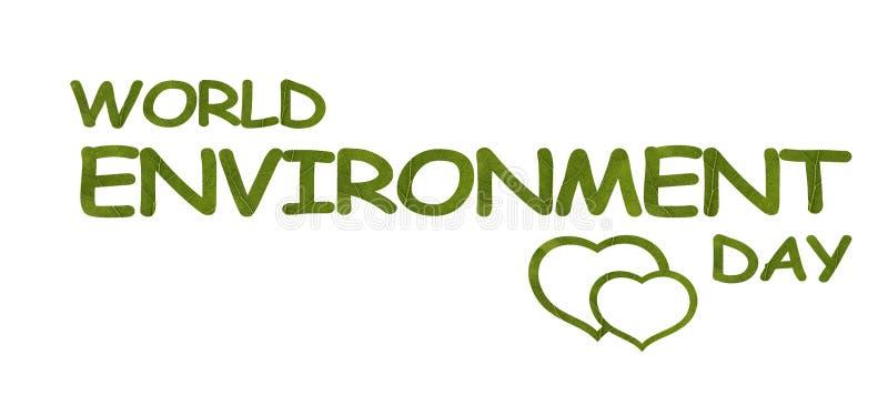 Está 5 de junio el día del ambiente mundial Palabras hechas de las hojas verdes en el fondo blanco Coraz?n de hojas Protecci?n de libre illustration