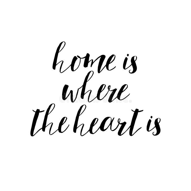 Está donde el hogar la cita de motivación del corazón, arte de la tipografía Vec stock de ilustración