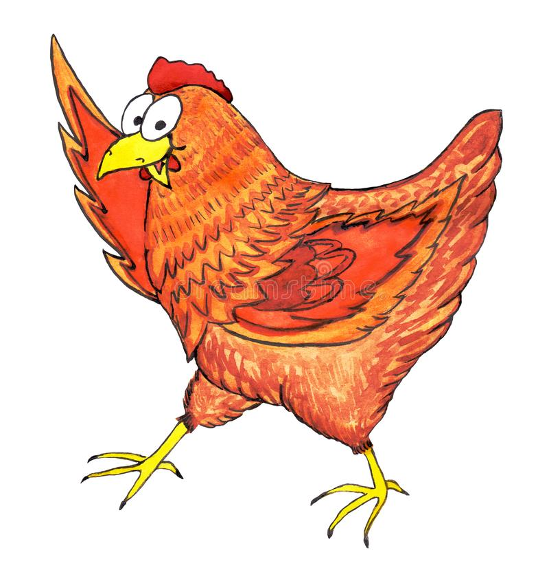 Está encantando la gallina roja de grandes ojos es que camina, sonriendo y agitándola el ala o señalar algo parte superior ilustración del vector