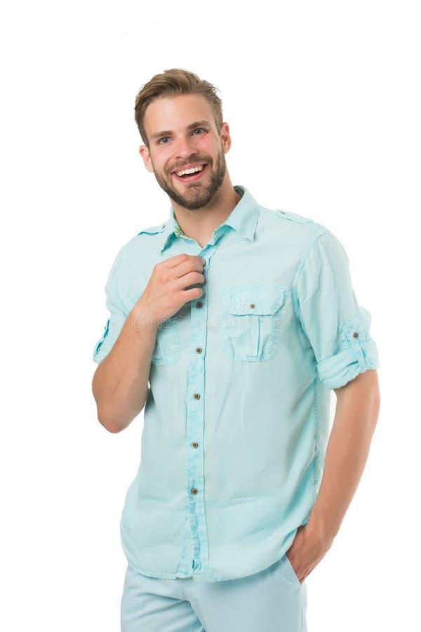 Está quente aqui Indivíduo farpado considerável do homem que sorri no fundo branco isolado O sorriso alegre do indivíduo macho se fotografia de stock royalty free