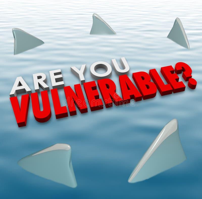 Está usted seguridad vulnerable de la seguridad del riesgo del peligro de las aletas del tiburón stock de ilustración