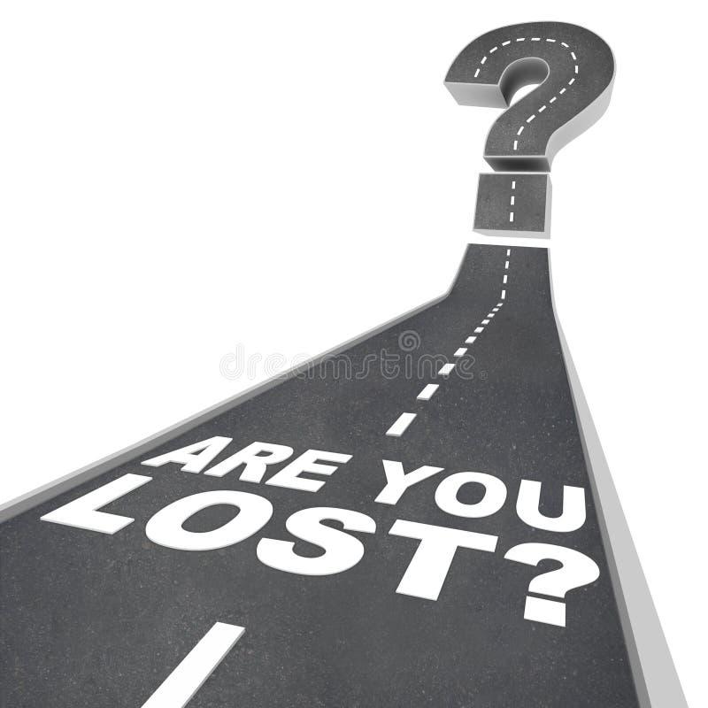 Está usted signo de interrogación perdido de las palabras en la confusión del pavimento de camino stock de ilustración