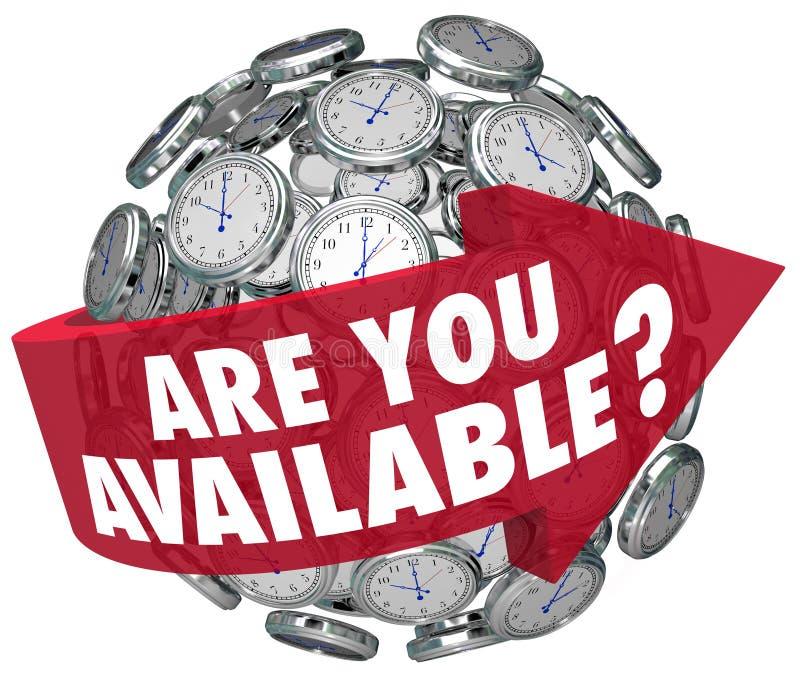 Está usted tiempo disponible de la petición de la reunión del horario de los relojes de la pregunta libre illustration