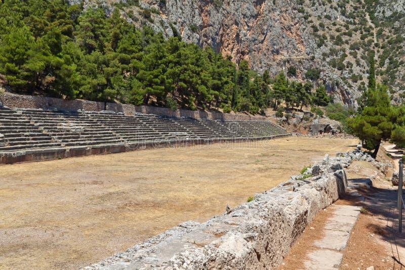 Estádio antigo em Delfi em Greece fotos de stock royalty free