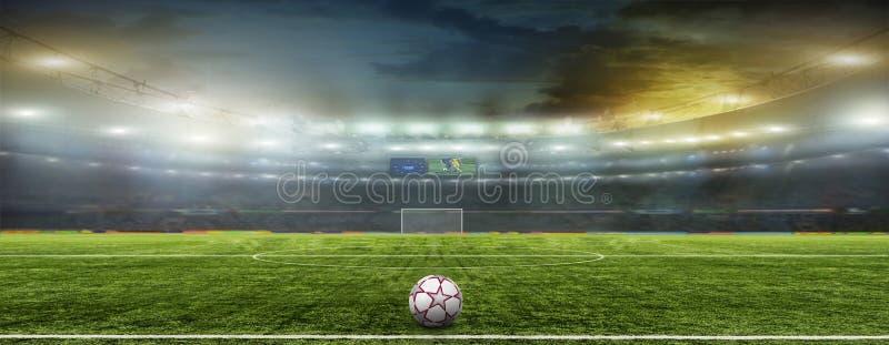 Estádio com fãs a noite fotografia de stock royalty free