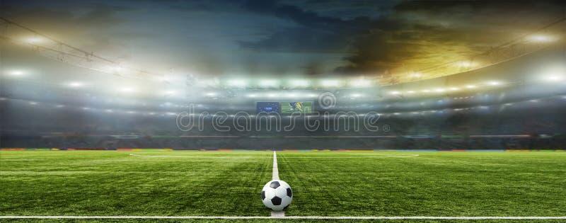 Estádio com fãs a noite imagem de stock