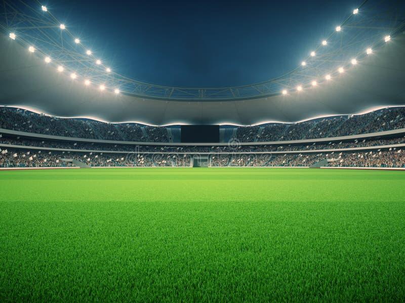 Estádio com fãs a noite antes do fósforo rendição 3d imagem de stock royalty free