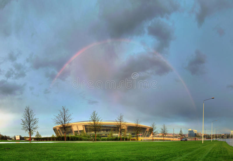Estádio da arena de Donbass na mola de 2012 imagens de stock royalty free