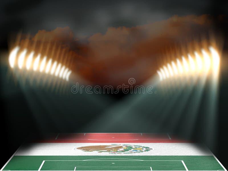 Estádio de futebol com campo textured bandeira de México ilustração do vetor