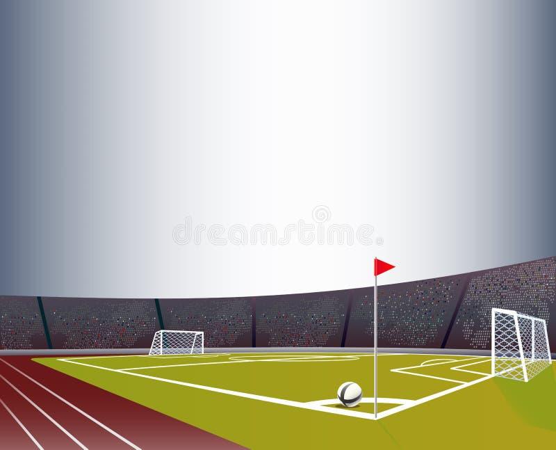 Estádio de futebol com poste, campo e as tribunas detalhados fotografia de stock royalty free