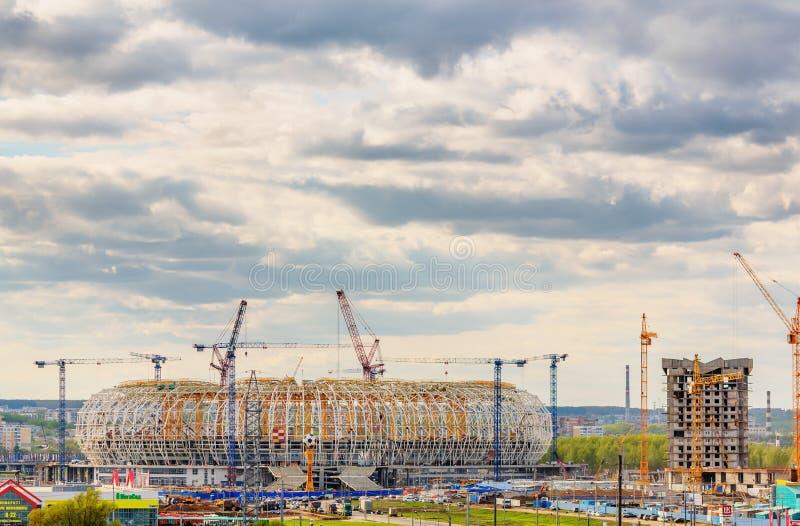 Estádio de futebol da arena de Mordóvia sob a construção fotografia de stock royalty free