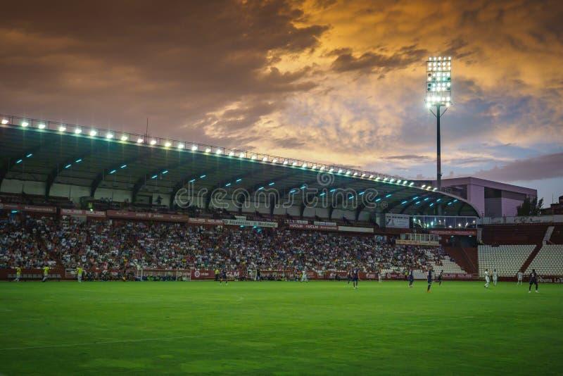 Estádio de futebol do futebol do ` de Carlos Belmonte do ` na Espanha de Albacete fotos de stock royalty free
