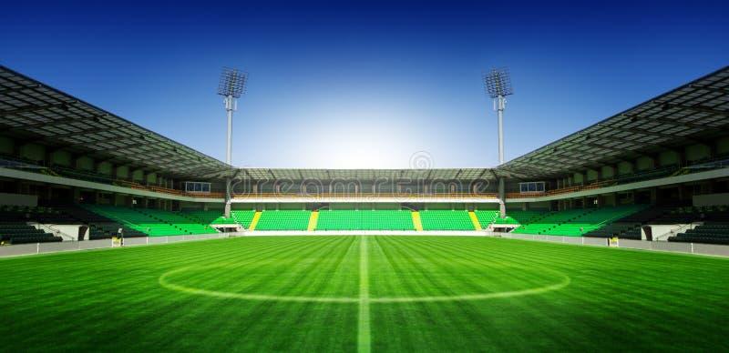 Estádio de futebol do futebol com céu azul fotografia de stock royalty free