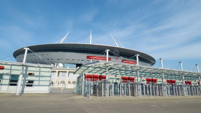 Estádio de futebol para o campeonato do mundo 2018 em St Petersburg imagens de stock royalty free