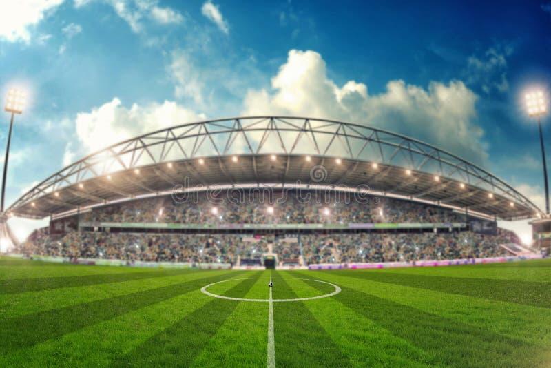 Estádio de futebol para o campeonato pronto para star ilustração stock