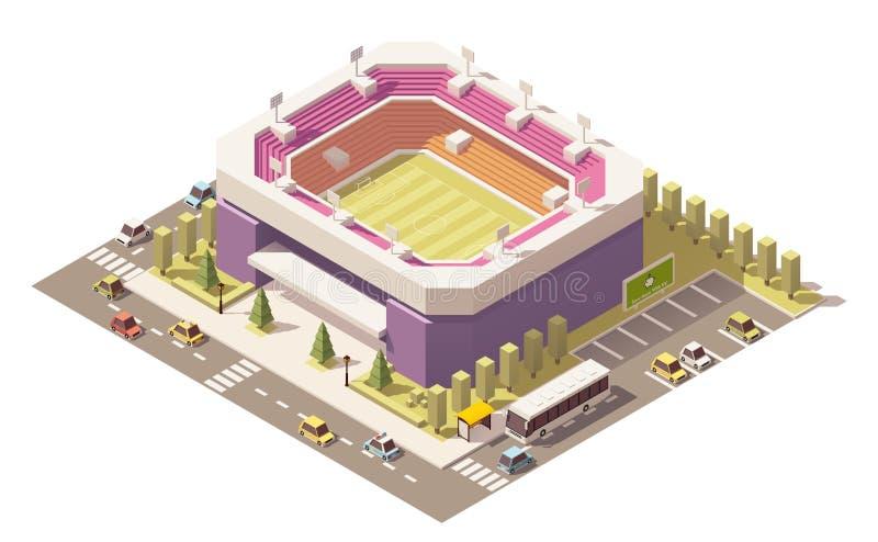 Estádio de futebol poli isométrico do vetor baixo ilustração royalty free