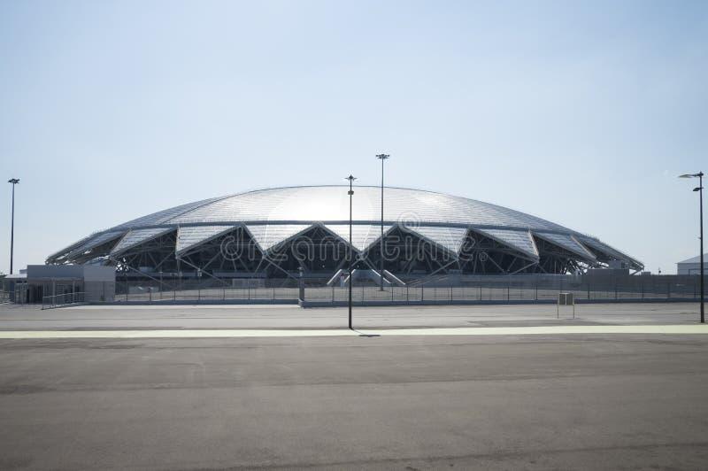 Estádio de futebol de Samara Arena Samara - a cidade que hospeda o campeonato do mundo de FIFA em Rússia em 2018 fotos de stock royalty free