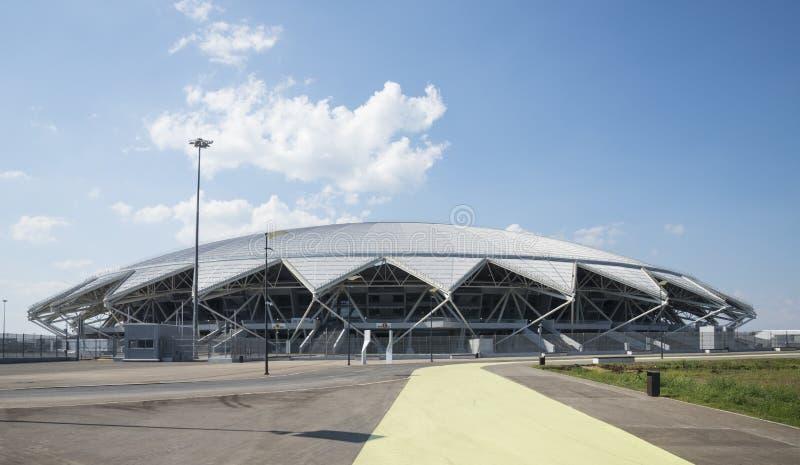 Estádio de futebol de Samara Arena Samara - a cidade que hospeda o campeonato do mundo de FIFA em Rússia em 2018 fotos de stock