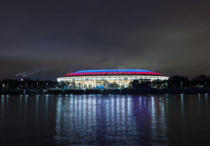 Estádio de Luzhniki na noite imagem de stock royalty free