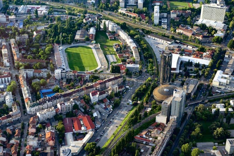 Estádio de Zagreb do ar imagens de stock