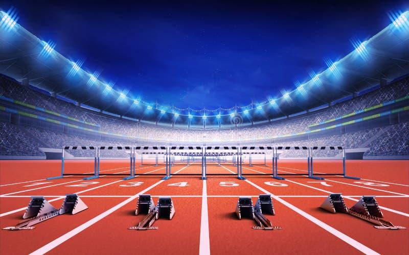 Estádio do atletismo com autódromo com blocos e obstáculos começar ilustração stock