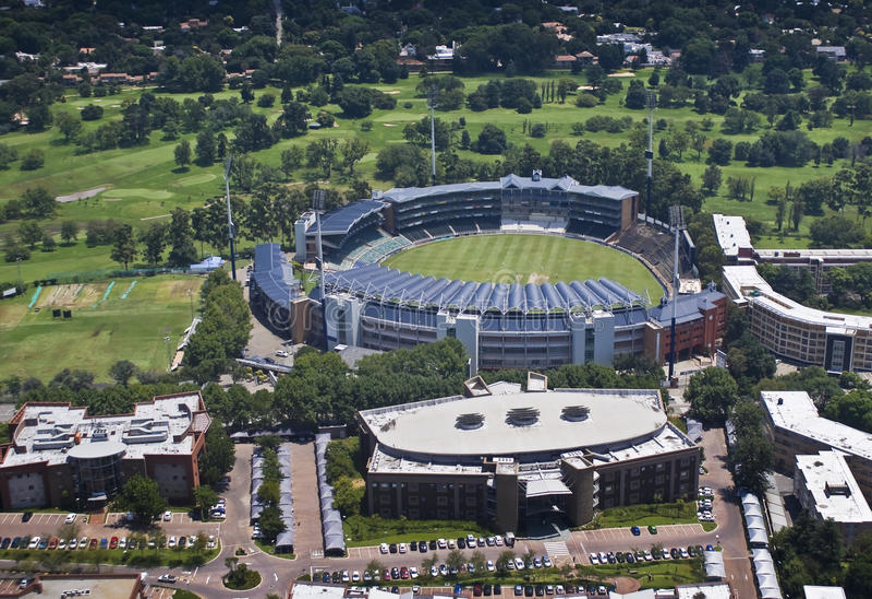 Estádio do grilo dos Wanderers - vista aérea imagens de stock