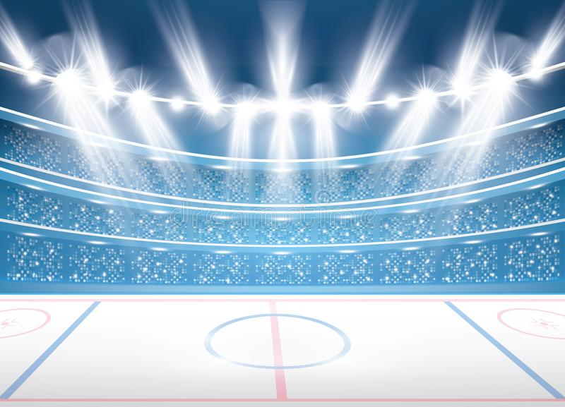 Estádio do hóquei em gelo com projetores ilustração do vetor