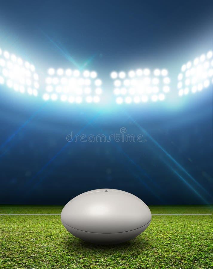 Estádio e bola do rugby fotografia de stock