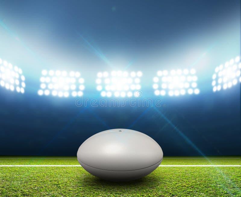 Estádio e bola do rugby imagens de stock
