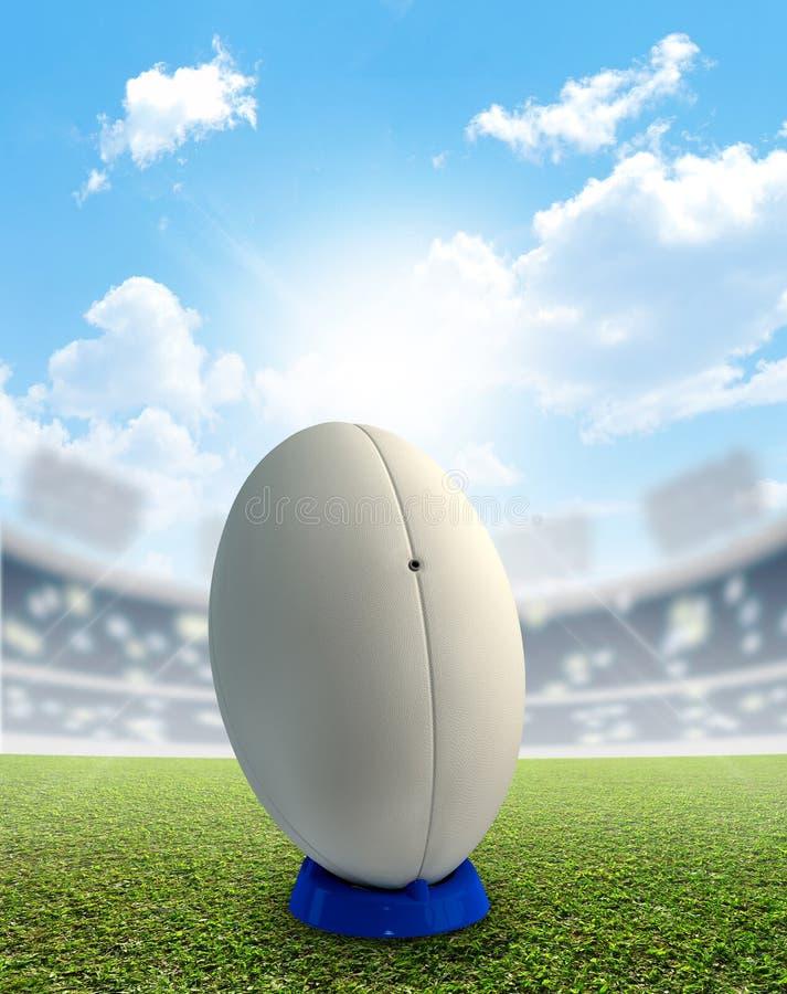 Estádio e bola do rugby imagem de stock royalty free