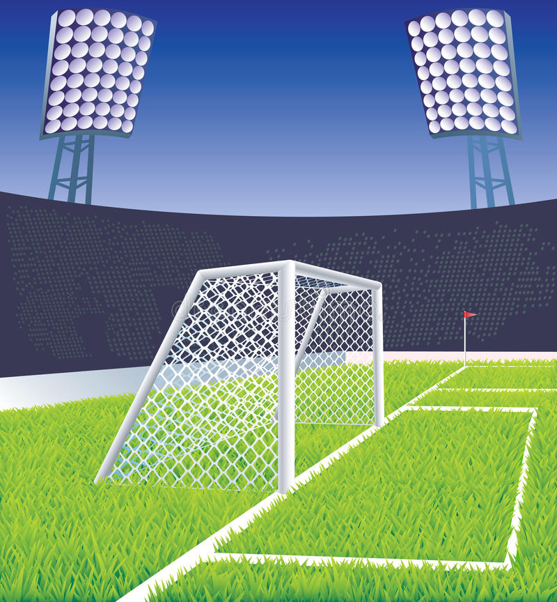 Estádio e objetivo de futebol. ilustração stock