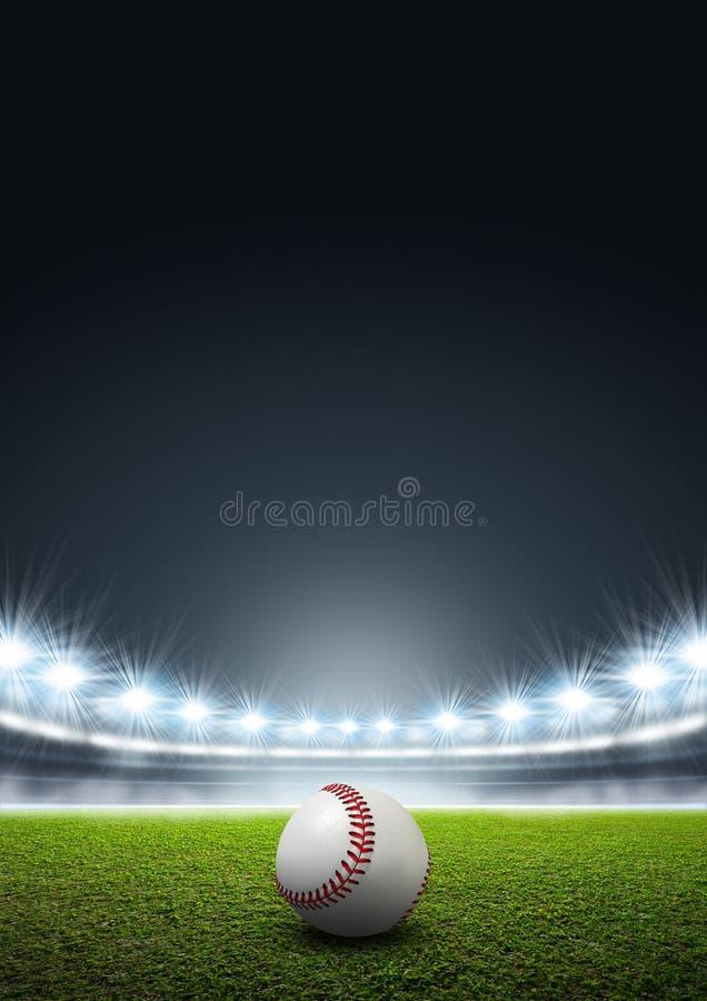 Estádio iluminado por holofotes genérico com basebol ilustração stock