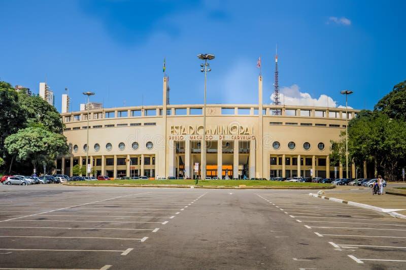 Estádio municipal de Pacaembu em Sao Paulo imagens de stock