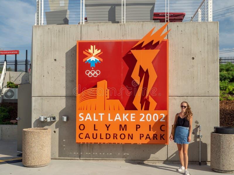 Estádio Olímpico de Salt Lake City, tocha de fogo e memorial, Parque Cauldron foto de stock