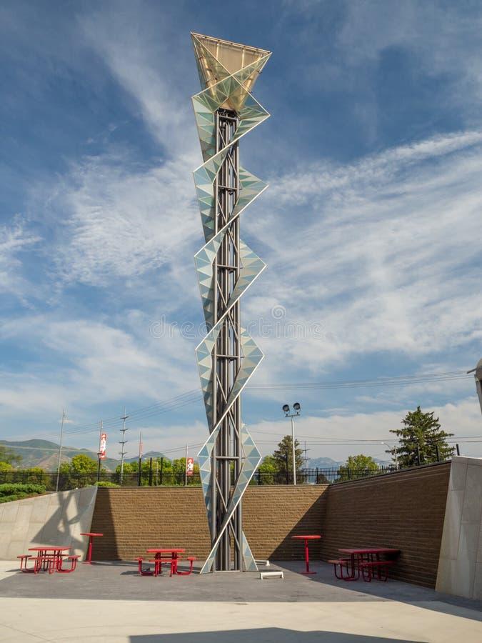 Estádio Olímpico de Salt Lake City, tocha de fogo e memorial, Parque Cauldron fotografia de stock royalty free