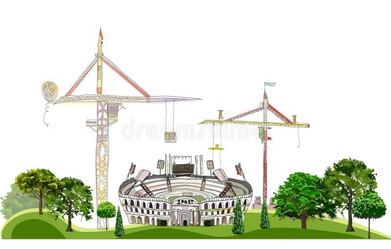 Estádio que consegue ser construção, ilustração do centro de esporte, coleção da cidade ilustração do vetor