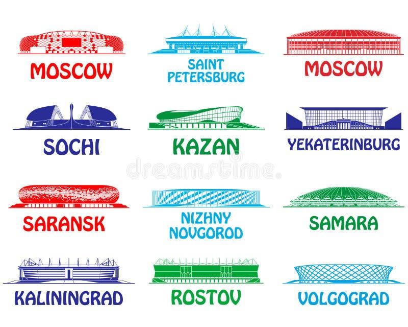 Estádios de futebol ajustados ilustração do vetor