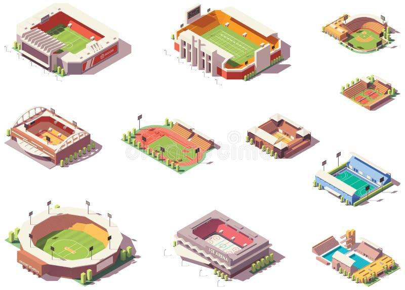 Estádios isométricos do vetor ajustados ilustração do vetor
