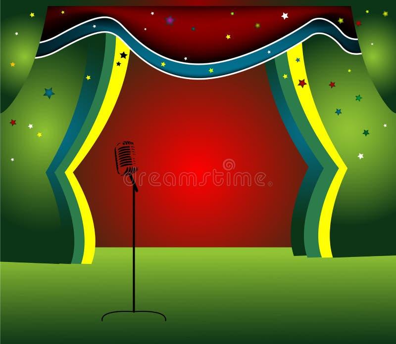 Estágio com cortina colorida ilustração royalty free