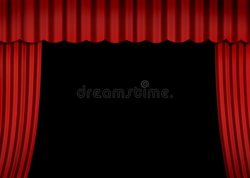 Estágio com cortina vermelha ilustração stock
