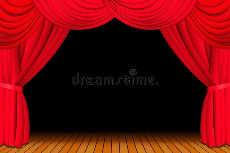 Estágio com a cortina vermelha aberta ilustração do vetor