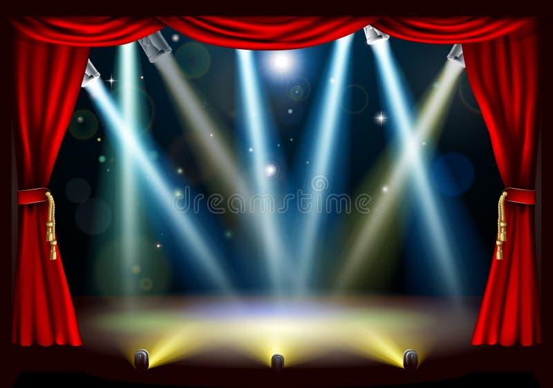 Estágio do teatro do projector ilustração stock