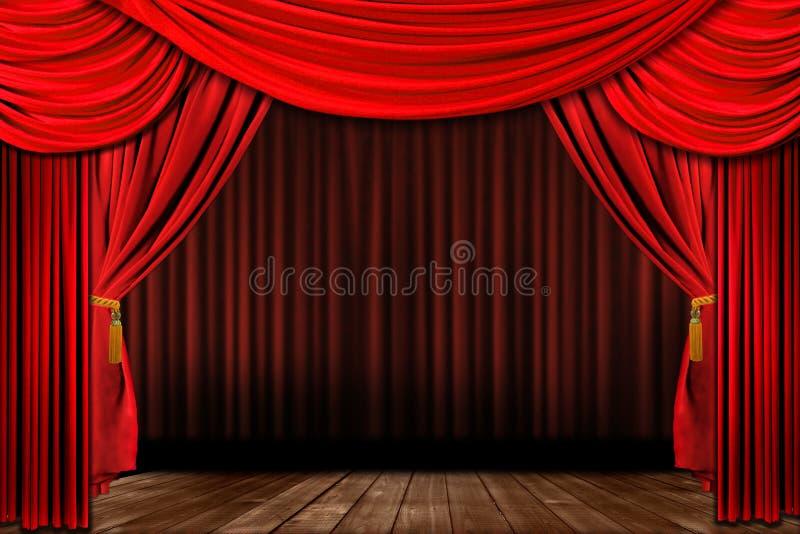Estágio elegante antiquado vermelho dramático do teatro ilustração do vetor