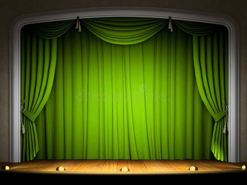 Estágio vazio com cortina verde ilustração do vetor