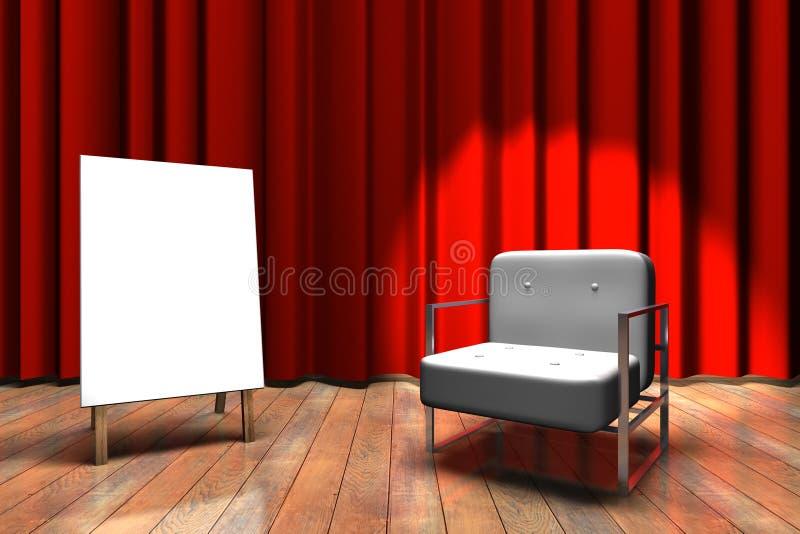 Estágio vermelho da cortina ilustração royalty free