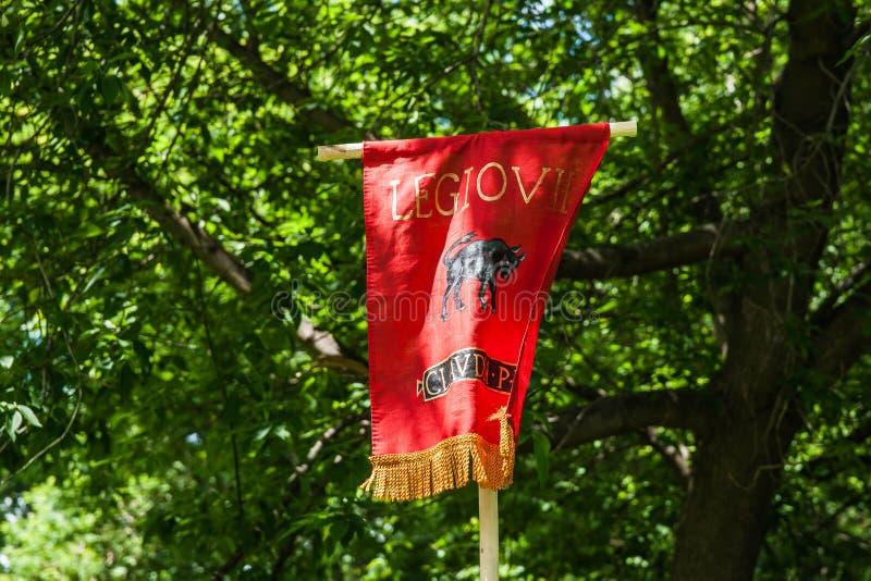 Estándar, colores, bandera, bandera de una legión romana foto de archivo