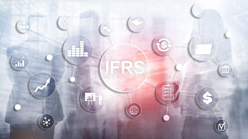 Estándares internacionales de la información financiera de IFRS instrumento de regla imagen de archivo libre de regalías