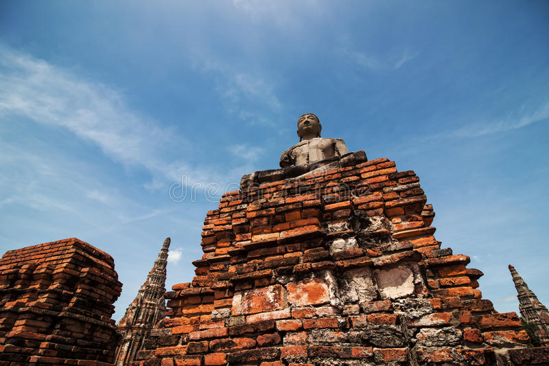Estátua antiga da Buda em Wat Chai Watthanaram Temple, Ayutthaya, imagens de stock