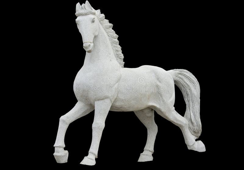 Estátua antiga da réplica de um cavalo imagens de stock
