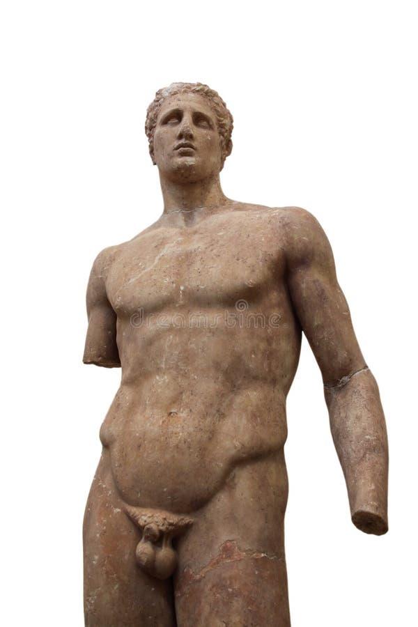Estátua antiga de Delphi do homem novo atlético imagem de stock
